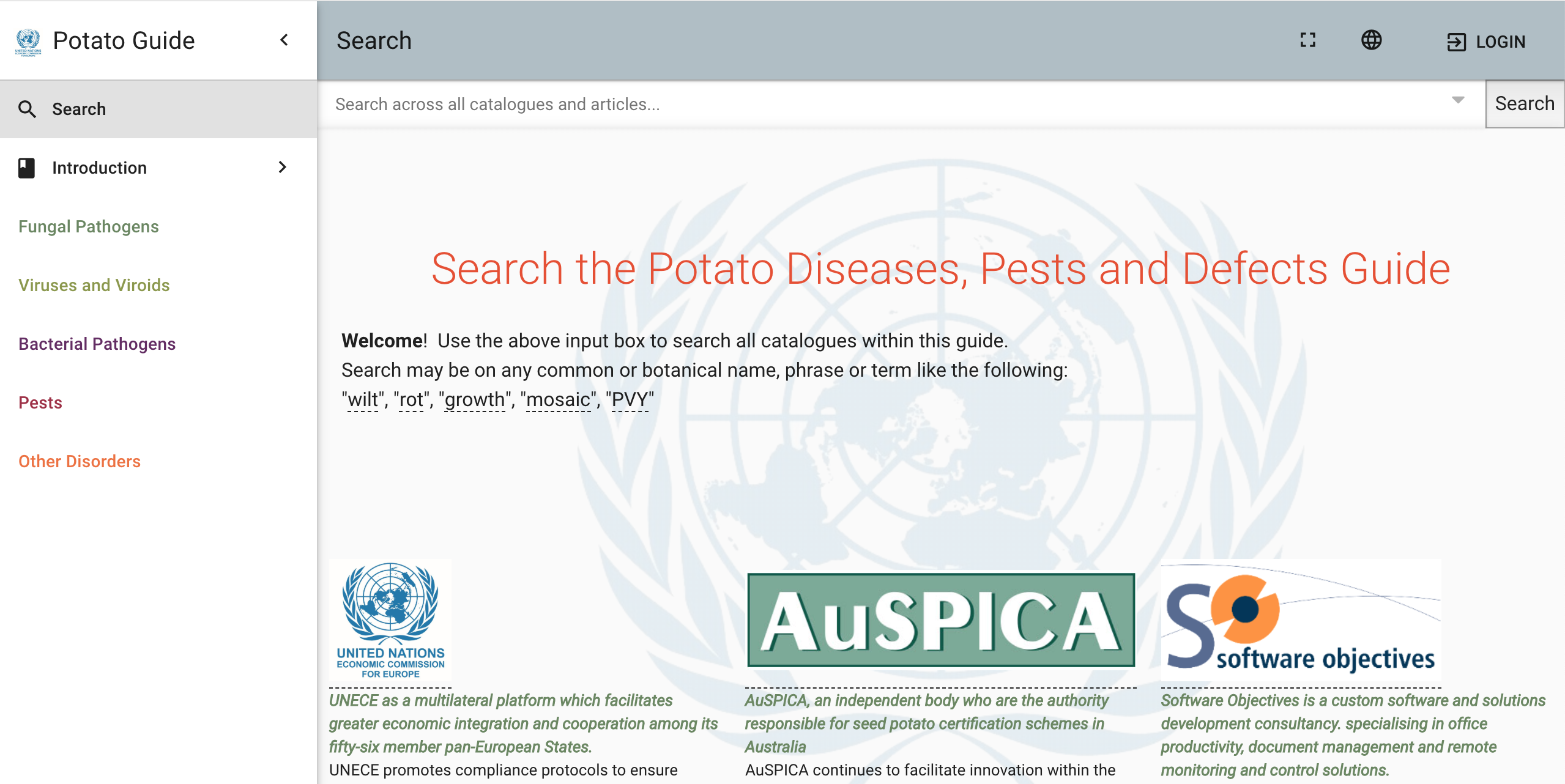 UNECE Potato Pest, Disease and Disorder Online App