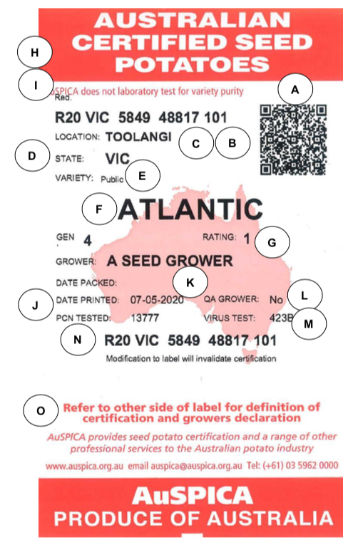 AuSPICA Seed Potato Labels – What Do They Mean?